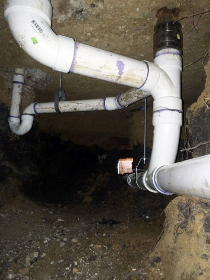 Tunnel Under Slab Replacing Cast Iron Pipe For Pvc Pipe